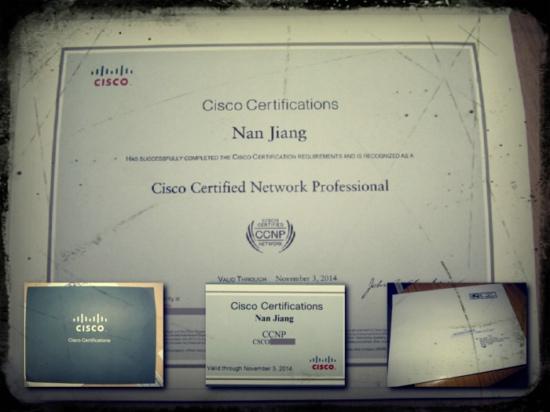 传说中的CCNP证书也拿到了