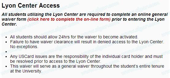 进入USC健身房Lyon Center之前必须填写的waiver form