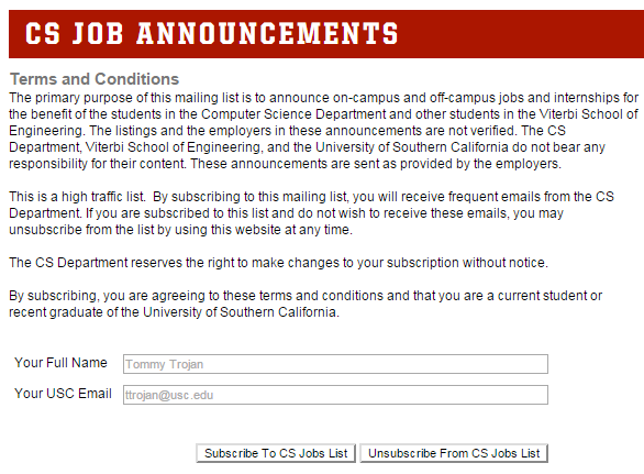 关于USC校内工作on-campus job的申请(CS举例)